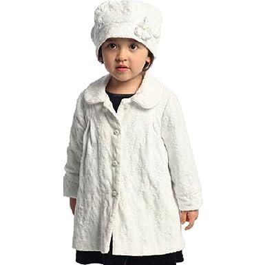 7bbb903e9 Amazon.com  Angles Garment Toddler Little Girls White Floral Coat ...