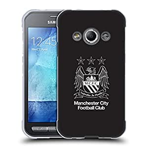 Official Manchester City Man City FC Outline White on Black Crest Soft Gel Case for Samsung Galaxy Fame S6810