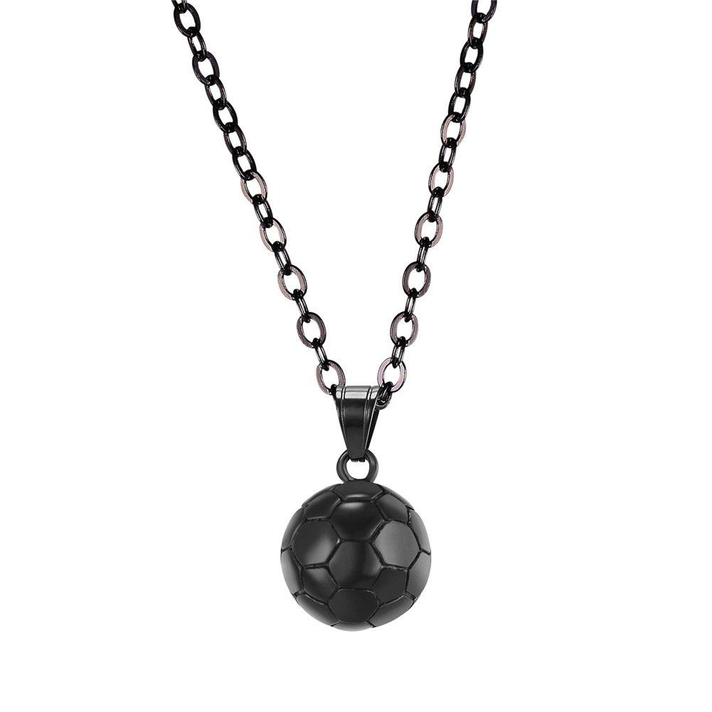 U7 - Collana con ciondolo - a forma di pallone da calcio o Rugby - in acciaio inossidabile - placcata color oro o nera - gioiello a motivo: sport, fitness catena regolabile 55cm 50cm confezione regalo argento HMD-GP2557