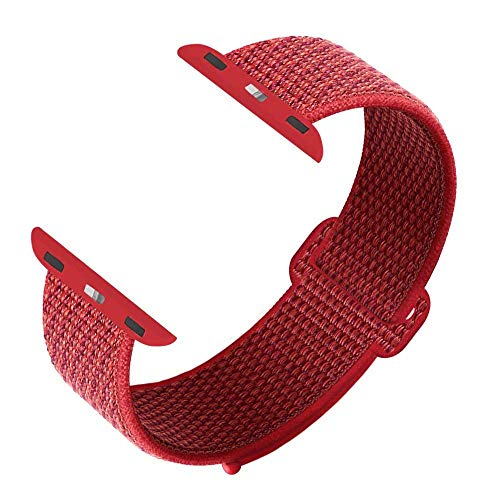 GZ GZHISY Newest Band Compatible with Apple Watch Band 42mm 44mm, Soft Breathable Nylon Sport Loop Band Replacement Band, Compatible for iWatch Series 4/3 /2/1, Red 42mm 44mm