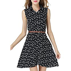 Phoenix Women Cat Footprints Half Placket Sleeveless Belted Shirt Dress