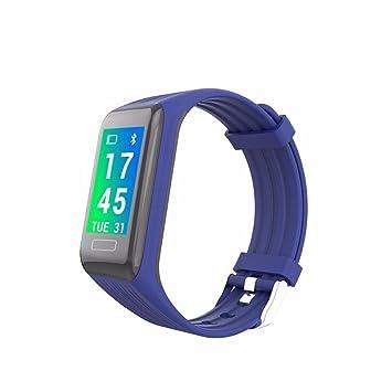 JINSHENG Pantalla Colorida Banda Inteligente Smart Pulsera Cardíaca Tensiómetro Pulsera Bluetooth,Azul: Amazon.es: Deportes y aire libre