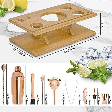 ONVAYA® Juego de cóctel en oro rosa | Set de regalo con soporte de bambú | Juego de coctelera | Juego profesional de barman | 16 piezas con coctelera, medidor de bar, vertedor etc. de acero inoxidable