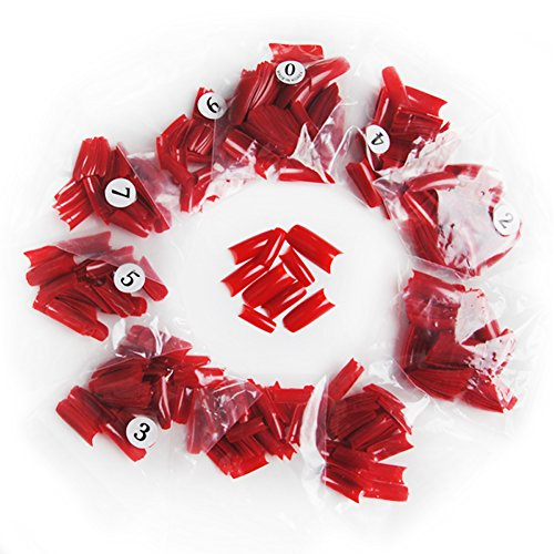 Fashion Zone 500Pc French False Acrylic Nail Tips DIY Nail art Tips Red Color