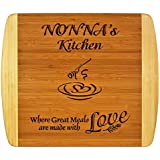 "Nonnas Gift ~ ""Nonna's Kitchen Where Great Meals are made with Love"" 2-Tone Bamboo Cutting Board w/ Heart Middle Grandma Christmas Birthday Mothers Day Engraved Side Décor Back Side Usage (11.5x13.5)"