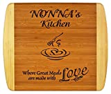"Nonnas Gift ~ ""Nonna's Kitchen Where Great Meals are made with Love"" 2-Tone Bamboo Cutting Board w/Heart Middle Grandma Christmas Birthday Mothers Day Engraved Side Décor Back Side Usage (11.5x13.5)"