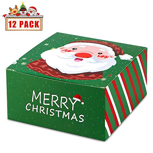 (HAISEN Boxes Green 8x8x4 inches, Paper Gift Boxes with Lids for Christmas Decorations,Holiday Festivals Supplies (12pack))