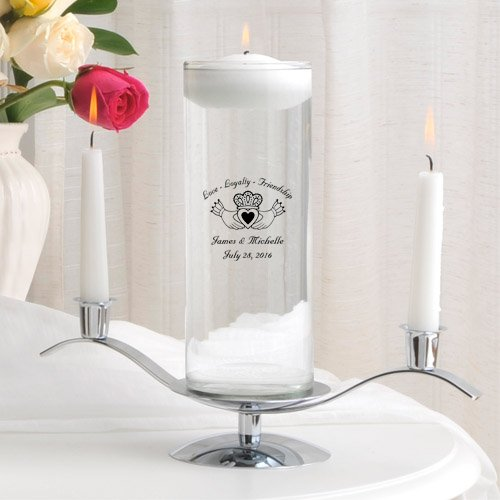Personalized Floating Wedding Unity Candle Set- Claddagh