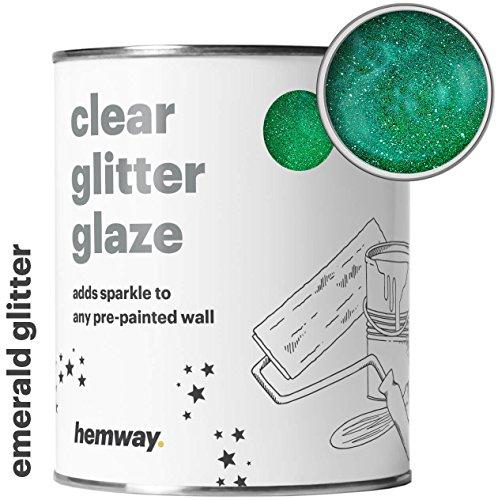 Hemway Clear Glitter Paint Glaze (Emerald Green) 1L/Quart for Pre-Painted Walls Acrylic, Latex, Emulsion, Ceiling, Wood, Varnish, Dead flat, Matte, Soft Sheen, Silk (CHOICE OF 25 GLITTER COLOURS) (Green 1l Wall)