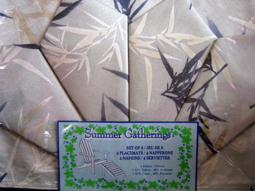 Import by Wal-mart Summer Gatherings PLACEMAT & NAPKIN Set: 4 Placemats & 4 Napkins w Silver Tone Background & Black Leaves Pattern (From Canada)