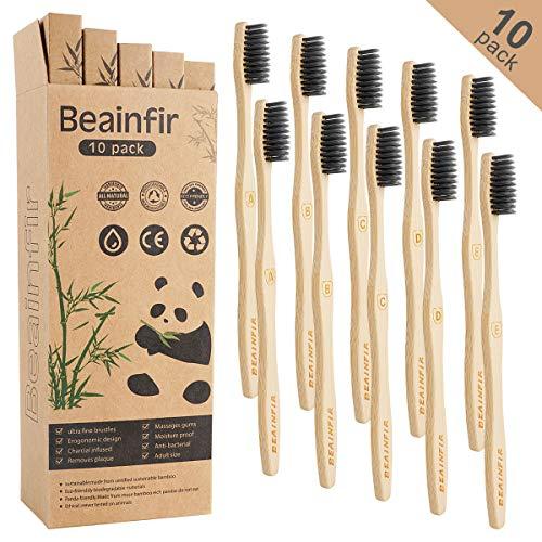 Bambus Zahnbürsten, Beainfir 10 Pcs Holzzahnbürste Bambuszahnbürste Nachhaltige Holzzahnbürst mit umweltfreundlicher…