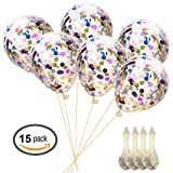 Toys : Confetti Balloons Round Silver & Gold Glitter Balloons for Wedding, Proposal, Birthday Party Decorations (Mouth Piece Included)