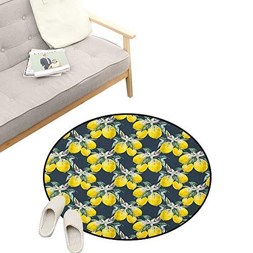 Floral Round Rugs for Bedroom ,Lemon Tree with Flowering Plant Blooms Botany Eco Evergreen Leaves Artwork, Skid Resistant Rug Pet Pad 23