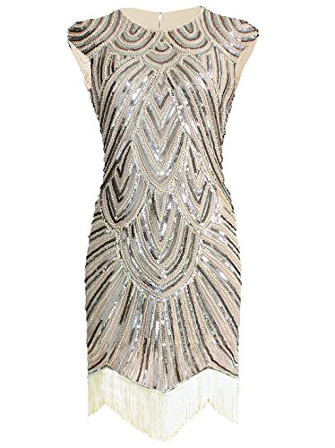 Vijiv Art Deco Great Gatsby Inspired Tassel Beaded 1920s Flapper Dress, Beige, XX-Large]()