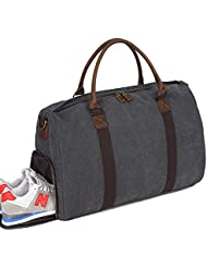 Weekender Overnight bag Men Canvas Genuine Leather Travel Tote Carry on Duffel Bag