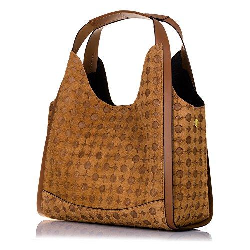 33x24x15 mujer FIRENZE exclusivo piel cuero genuino Color bag shopping auténtica VERA Cuero Bolso Asa Bolso MADE cm IN ITALIANA geométrico diseño ITALY circulos ROJO ARTEGIANI PELLE grabado mujer de YwTYrSqz