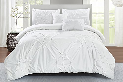 (Wonder Home Starburst Comforter Set, King, White)