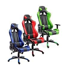 HOMCOM 360° Swivel Gaming Racing Office Chair with Waist Neck Cushions (Blue/Black)