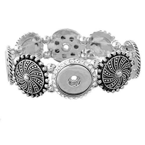 Souarts Bracelet pour Bouton a Pression Rhinestone Corde Elastique