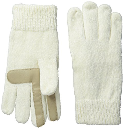 Isotoner Women's Smartouch Chenille Knit Gloves, Ivory, One Size