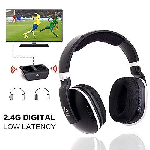 Wireless Headphones for TV with RF Transmitter For Netflix Hulu Watching and Listening-Digital Over Ear Cordless TV Headphones Rechargeable 20 Hour Battery and Charging Dock also for Hard of - Tv Vizio For Headphones