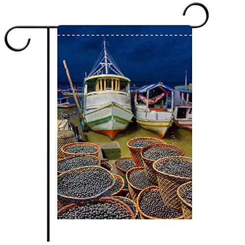 Double Sided Premium Garden Flag Acai Market in Belem City Best for Party Yard and Home Outdoor Decor ()