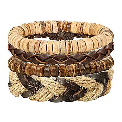 LOLIAS 24 Pcs Woven Leather Bracelet for Men Women Cool Leather Wrist Cuff Bracelets Adjustable (Style G:4pcs a ()