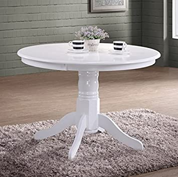 Pleasant Shabby Chic White Wooden Round Dining Table French Country Pedestal Style 4 Seater Small Kitchen Room Vintage Dinner Breakfast Stunning Furniture Made Beutiful Home Inspiration Xortanetmahrainfo