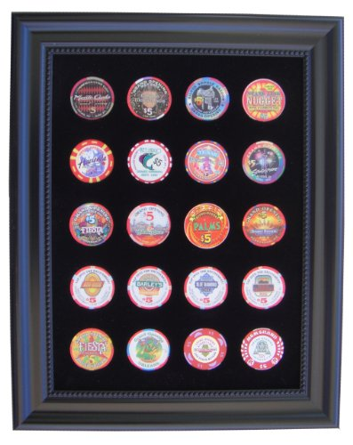 Tiny Treasures, LLC. Black Casino Chip Display Frame for 20 Casino Poker Chips (not included)