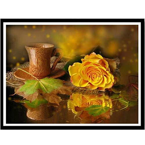 Fineser(TM) Cross Stitch Kit-Yellow Rose, 5D DIY Diamond Painting-Crystals Embroidery-Handmade Embroidery Home Decor Craft 30x25CM