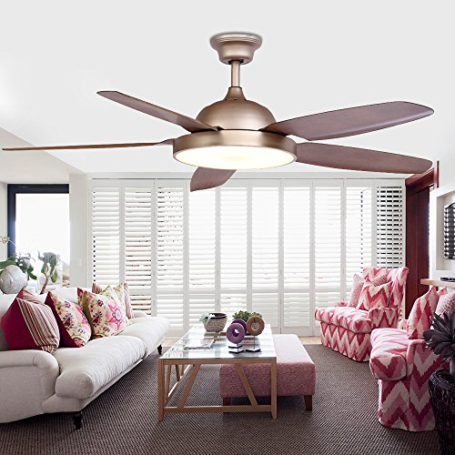 Chandelier Ceiling Fan With LED Light and 5 Reversible Blades Champagne Remote Control For Home Decoration Living Room Bedroom 52 Inch