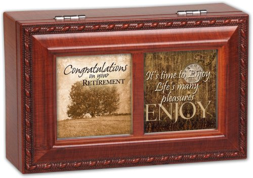 Cottage Garden Congrats Retirement Woodgrain Petite Music Box / Jewelry Box Plays Wonderful World (Grain Music Petite Wood Box)