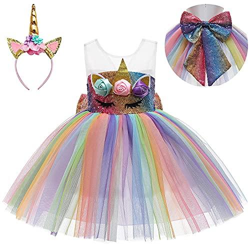 Sequin Unicorn Dress for Girls Princes Dress Up Toddler Birthday Unicorn Costume