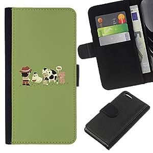 KLONGSHOP // Tirón de la caja Cartera de cuero con ranuras para tarjetas - Funny Farm Cute Animals - Apple Iphone 5C //