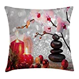 48 Inch Square Ottoman YVSXO Spa Decor Throw Pillow Cushion Cover, Winter Christmas Theme with Pink Orchid Stone and Red Candles Image, Decorative Square Accent Pillow Case, 18 X 18 inches, Red Pink Black and White