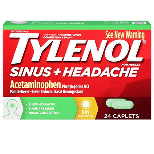 Tylenol Sinus + Headache Non-Drowsy Daytime Caplets with Acetaminophen & Phenylephrine HCl, 24 ct (Tylenol Sinus Daytime)