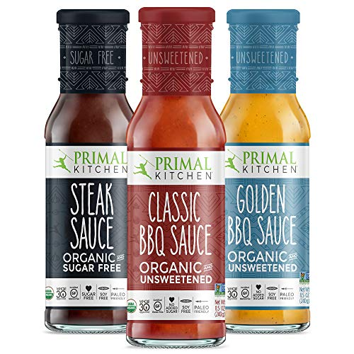 Primal Kitchen 3 Pack Organic and Unsweetned Barbeque & Steak Sauce - Whole 30 Approved, Keto, Paleo Friendly - Includes: Classic BBQ, Golden BBQ, and Steak Sauce (Best Barbecue Sauce Brand)