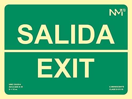 Normaluz RD14104 - Señal Luminiscente Salida Exit Clase B PVC 0,7mm 22,4x30cm con CTE, RIPCI y Apto para la Nueva Legislación