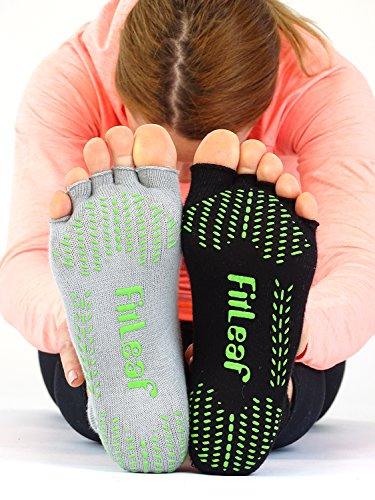 FitLeaf Socks (Women 5-10 / Men 4-9, Black and Gray)