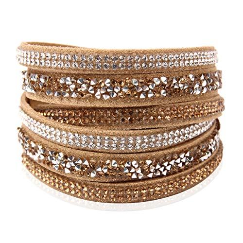RIAH FASHION Bohemian Faux Suede Leather Wrap Multi Layer Bracelet - Boho Wrist Adjustable Cuff Bangle Crystal Rhinestone/Bead Embellishment (Crystal Mosaic - Brown)