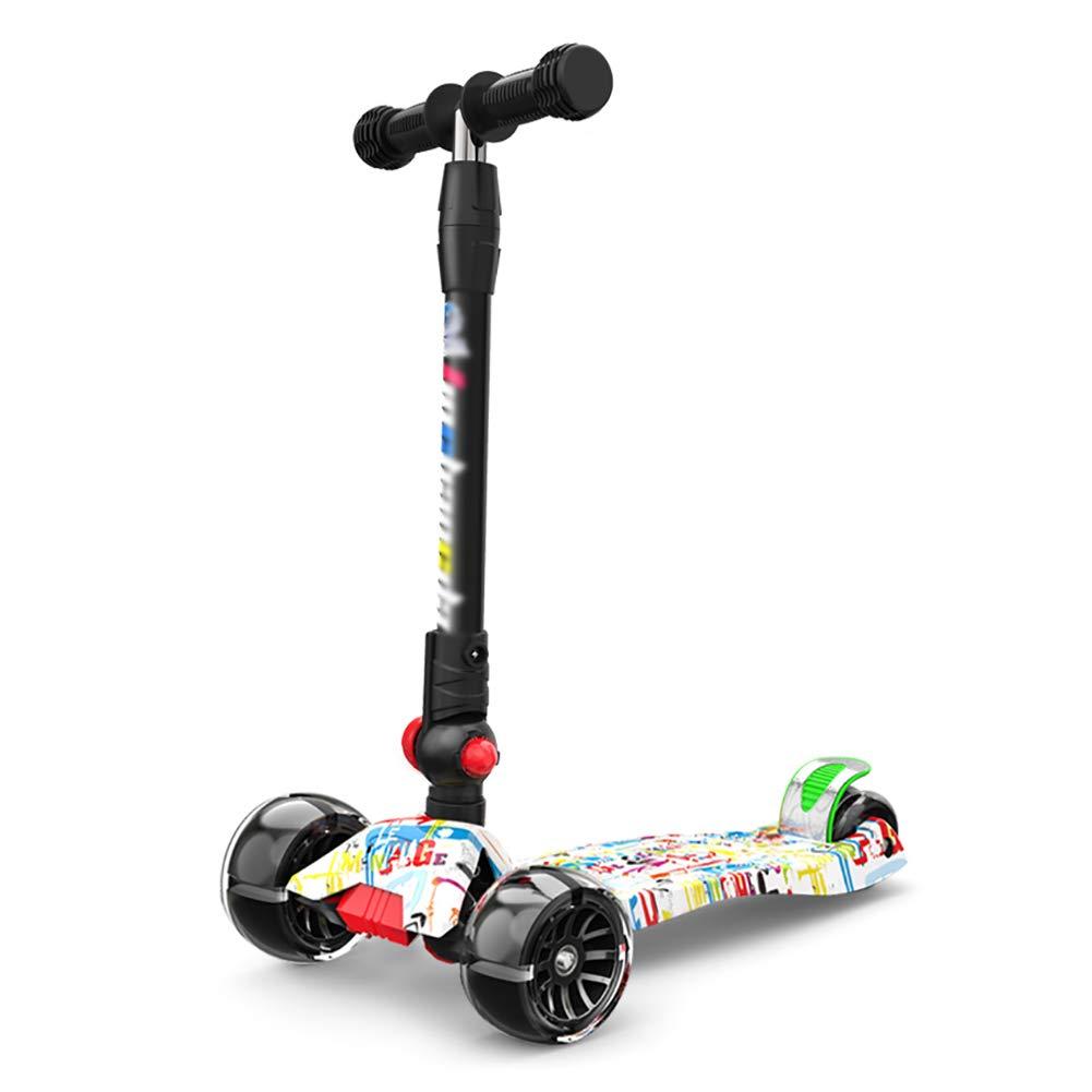 スクーター 子供のための折りたたみ式スクーターアウトドア、セーフティブレーキ付きワイドペダル三輪車、Tバー調節可能な高さ、非電気 (色 : Pink) B07KY54YX6 Green Green