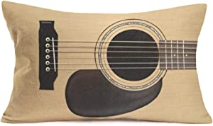 Retro Music Guitar Throw Pillow Cushion Cover Vintage Bass Music Musical Strings Instruments Decorative Pillow Cover Cotton Linen Rectangle Home Sofa Couch Decor Pillowcase 12x20Inch(MB-Guitar)