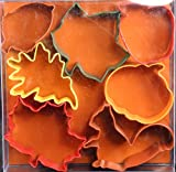 """R & M International Set of 7 Fall Leaf Cookie Cutter Set with Three Leaves, Acorn, Pumpkin, Apple and Squirel - Cutters Range from 2.75"""" - 3.75"""