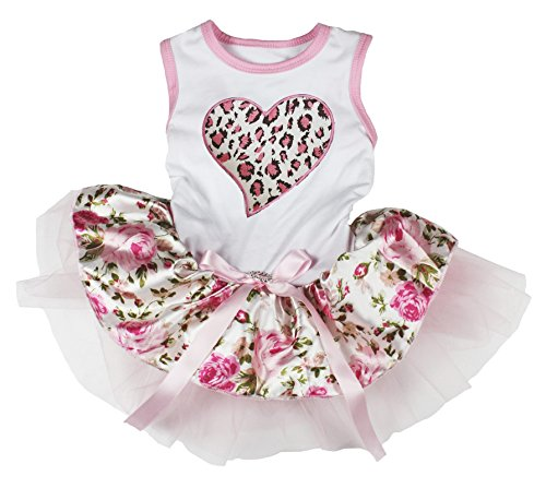 - Petitebella Pink Leopard Heart White Shirt Pink Floral Tutu Dog Dress (Small)