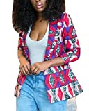 Domple Women African Print One Button Notch Lapel Slim Fit Outerwear Blazer Four US S