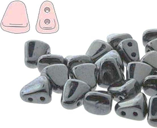Metallic Gunmetal; Nibbit Bead Weaving Czech Glass Nib-Bit 6x5mm Two Hole Bead approximately 50 beads