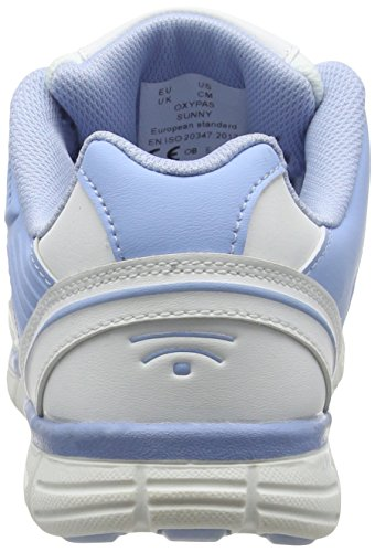 Oxypas Oxysport 'Sunny' Slip-resistant, Antistatic Leather Nursing Trainers, White/Blue (Light Blue), 4 UK (37 EU)
