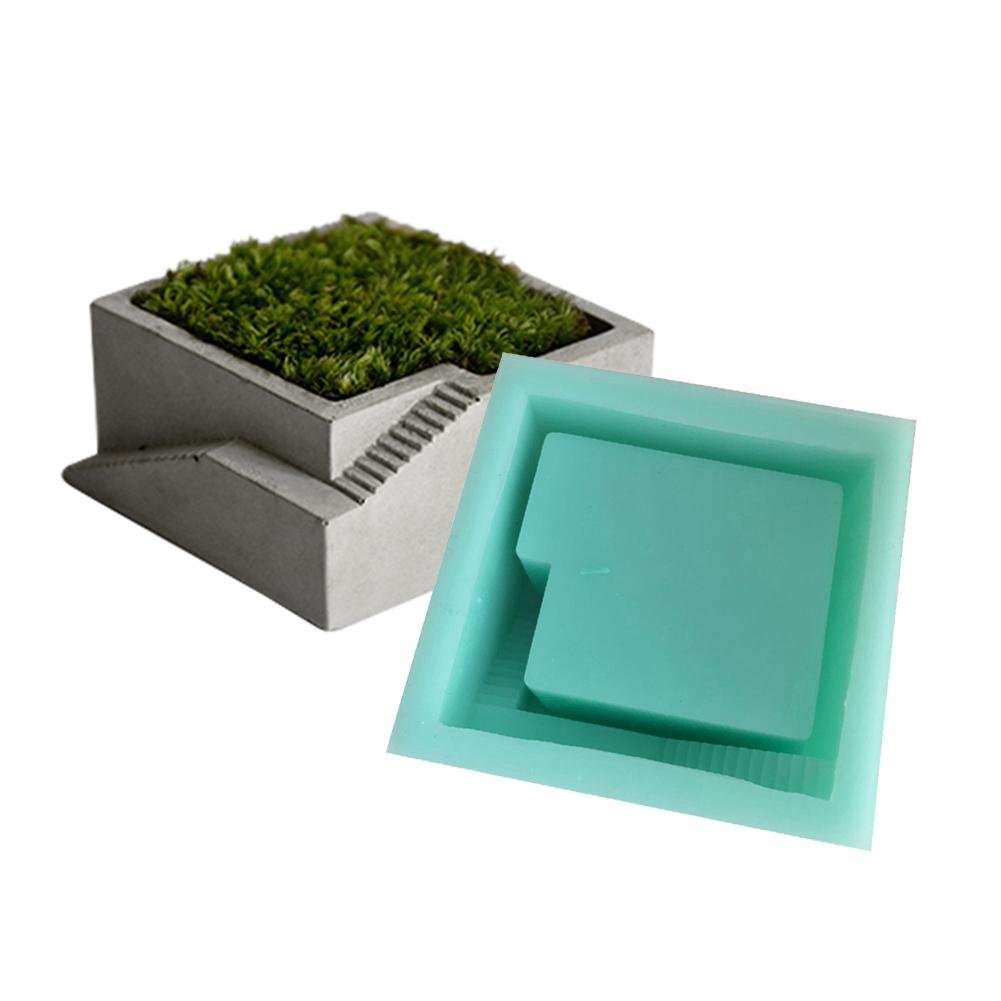 Foerteng Silicone Mold of Miniature Sky Garden,Concrete Square Flower Pots with Stairs for Garden Decortion