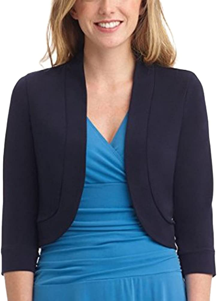 VERYCO Women Bolero Shrug Jacket Ladies Vintage Plain Open Front Shrug Cardigan 34 Sleeve Tops