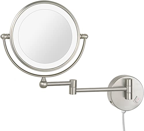 DOWRY Makeup Mirror Wall Mount Lighted with 7X Magnification, Nickel Brushed, 8 Inches, Double-Sided,Plug Powered